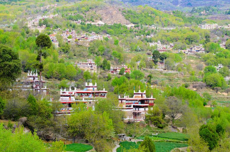 Scenic view of jiaju tibetan village