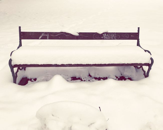 Parkbench Snow Winter White Color Cold Temperature No People Day Nature Outdoors