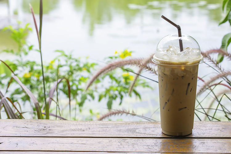 Iced coffee in glass on the table Background Pennisetum pedicellatum and pond. Pedicellate Pennisetum Fresh Pond Espresso Bar Beautiful Beauty Beverage Blossom Bright Brown Cafe Caffeine Cappuccino Chocolate Cocoa Coffee Color Colorful Cool Cup Delicious Drink Environment Floral Flower Foliage Green Ice Latte Leaf Meadow Milk Natural Nature Orange Outdoor Plastic Refreshment Rural Straw Sugar Summer Sweet Tree Water Wood Wooden Yellow