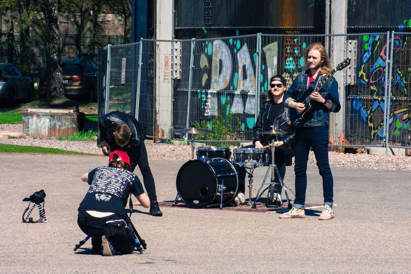Bumped into a band making their music video. Full Length Casual Clothing Day Outdoors Arts Culture And Entertainment Two People Fashion Togetherness Adult People Young Adult Building Exterior City Music Musician Instruments Lifestyles Musical Instrument Standing Men Real People The Street Photographer - 2017 EyeEm Awards