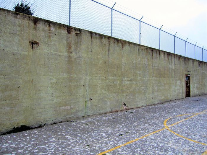 Wall around rec yard at Alcatraz. Alcatraz Alcatraz Island Bay Area California Federal Penitentiary Imprisoned Jail San Francisco Wall Abandoned Golden Gate National Recreation Area National Park Service Prison Prison Yard Tourism Walled In