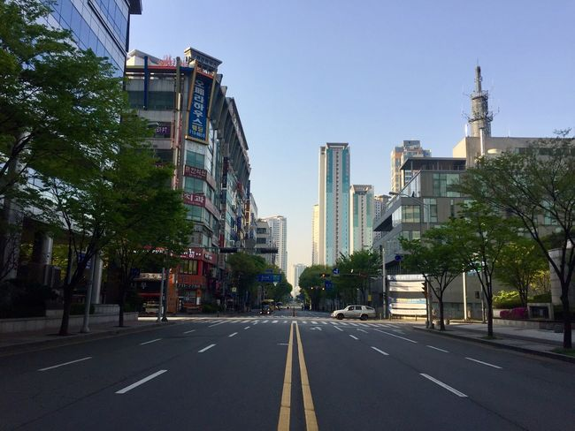 Jeongja-dong in the morning Bundang Built Structure Road Architecture No People Skyscraper Korea No Traffic Morning Light Morning