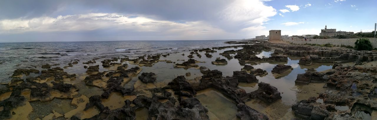 Sky Water Cloud - Sky Sea Building Exterior Nature Beach Architecture Horizon Land Horizon Over Water Travel Destinations Built Structure Scenics - Nature Day Travel No People Outdoors Panoramic Photography Panorama San Vito Scogliera Adriatic Sea Abbazia Polignano A Mare
