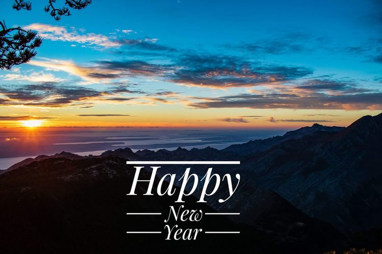 Happy New Year! Sunset Sky Landscape