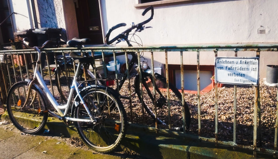 First Eyeem Photo Bremen Germany Bikes Fence Do Not Forbidden Things On The Street Front Yard Frontyard No People Urban