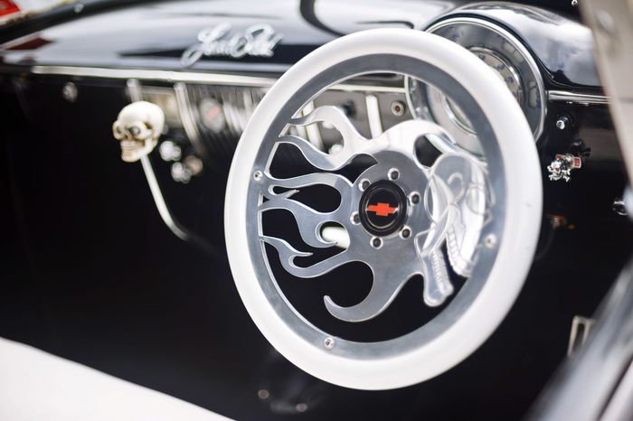 Skulls n Flames Dashboard Custom Chrome Dashboard HotRod Skull Flames Steering Wheel Chevrolet