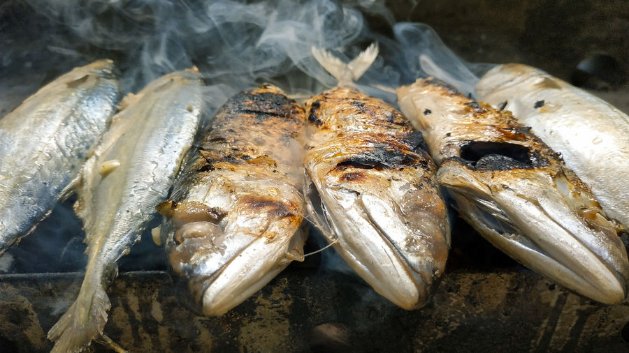 High angle view of fish on barbecue