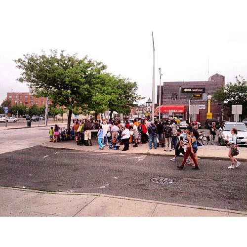 People gathering for Longisland Foodnotbombs Hempstead Veganfoodshare vegetarian foodshare vegan food sunday community summer picoftheday