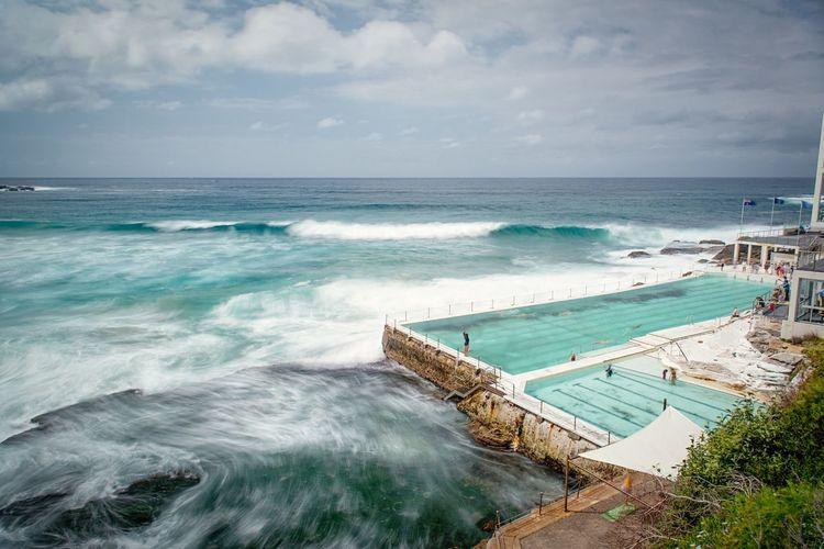 Furious sea by bondi icebergs pool