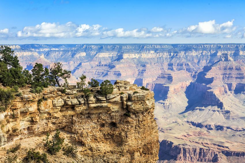 Panoramic view of Grand Canyon Arizona Cliff Cloud - Sky Day Eroded Geology Grand Canyon Idyllic Majestic Mountain Nature Outdoors Panorama Rock Formation Rocky Mountains Scenics Sky South Rim Tourism Tranquil Scene Tranquility Travel Water