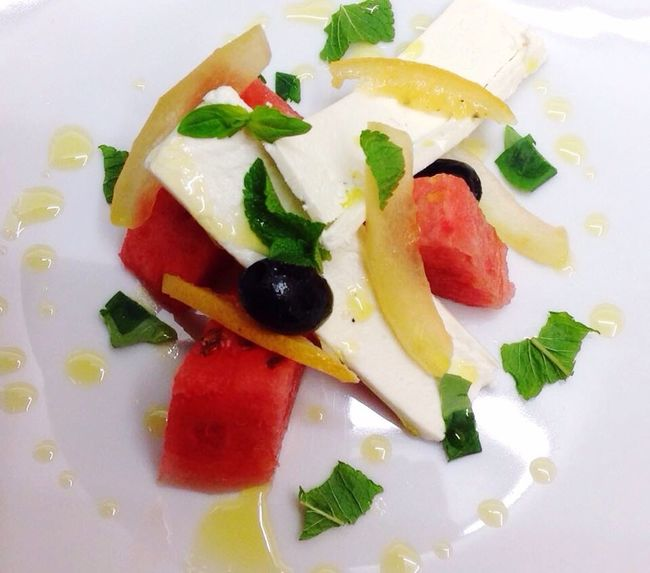 Feta and Melon Salad with Pickled Melon Rind