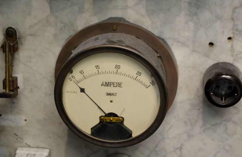 High angle view of meter