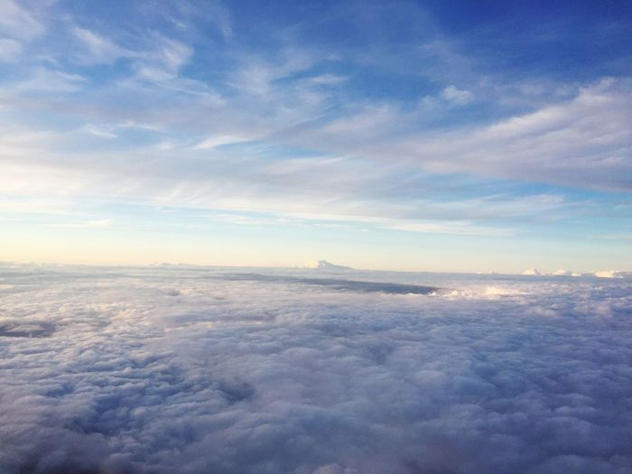 Cloud - Sky Sky Beauty In Nature Nature Scenics Cloudscape Tranquil Scene Aerial View Tranquility Majestic No People Outdoors Blue Sea The Natural World Sky Only Sunset Day Airplane Water