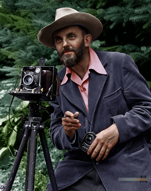 Ansel Adams portrait taking a photo, 1950, colorized from a photo by John Malcolm Greany. Ansel Adams Colorized Leaves Nature Photography 👣 One Man Only Outdoors People Portrait Vintage Camera