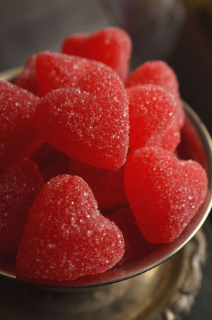 silver dish full of sugar coated red jelly heart candy Candy Close-up Day Dessert Food Food And Drink Freshness Heart Heart Shape Heart Shaped  Indoors  Jelly Candy No People Ready-to-eat Red Red Candles Red Candy Stack Sugar Sugar Crystals Sweet Food Sweet♡ Valentine Valentine's Day