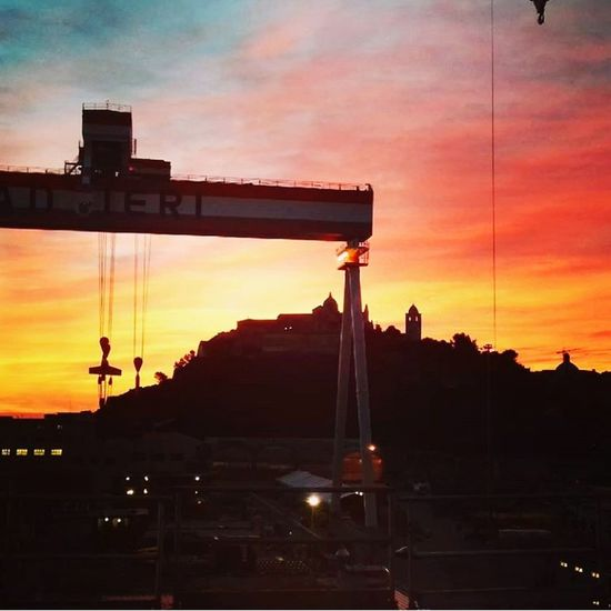 work Porto Fincantieri Conero Monumento CIMA Mattina Presto Imbarco Sunset Business Finance And Industry Silhouette Industry No People Architecture Built Structure Construction Site City Factory Manufacturing Equipment Nature Night Building Exterior Metal Industry Shipyard Sky Oil Pump Outdoors