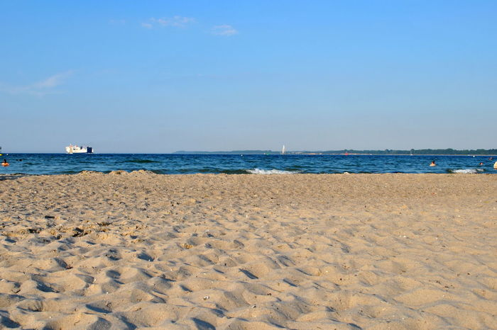 I am all at the sea Beach Sand Sea Sky Vacations Blue Outdoors Horizon Over Water Sunny Travel Destinations Tranquility Clear Sky Summer Nature Water Day Landscape Tourism Tranquil Scene Pastel Colored Baltic Sea Germany Lübecker Bucht Lübeck-Travemünde