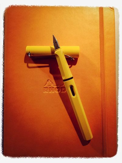 Rhodia orange notebook & yellow Lamy Safari IPhone Rhodia Lamy