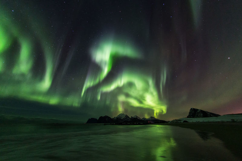 Scenic view of beach against aurora borealis at night