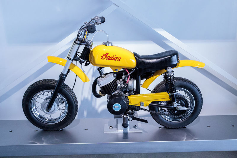 Los Angeles, CA, USA - March 4, 2017: Small 1969 Indian MM5A mini mini bambino at the Petersen Automotive Museum in Los Angeles, California, United States. Editorial only. 1969 Adventure Bambino Day Indian Mini MM5A Moped Motorcycle Motorcycle Motorcycle Racing No People Outdoors Petersen Automotive Museum Transportation Yellow