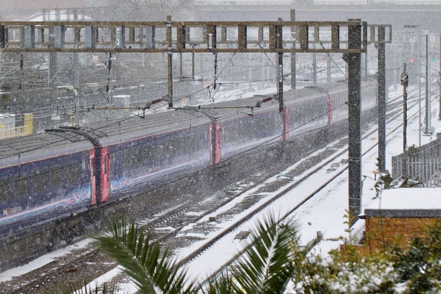 First London Railing Railroad Track Winter Cold Temperature Locomotive London Train Outdoors Rail Rail Transportation Railroad Station Railroad Station Platform Railway Railway Track Snow Snowing Train Train Strikes Winter