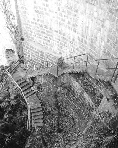 High angle view of abandoned steps