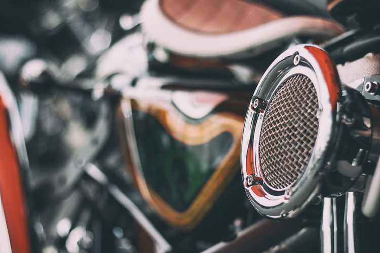 A custom Harley-Davidson Cool Harley-Davidson Motorcycle Old School Retro Stylish Air Filter Bike Bokeh Chrome Close-up Custom Focus On Foreground Mode Of Transport Motorbike Old-fashioned Retro Styled Transportation