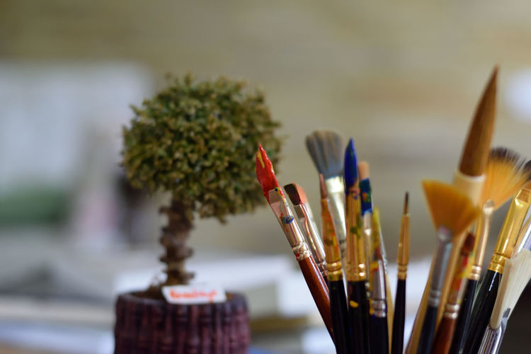 paint brushes School Education Art Painted Image Art Studio Palette Artist Paint Paintbrush Close-up Acrylic Painting Fine Art Painting