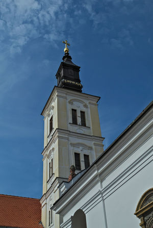 Tower of main church in monastery Krusedol, Serbia Church Hope Monastery Serbia Architecture Bell Tower Building Exterior Built Structure Day Fate  Low Angle View No People Orthodox Outdoors Place Of Worship Religion Sky Spirituality