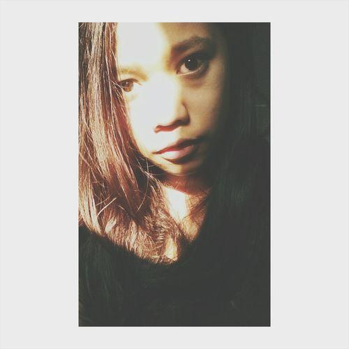 Messy Hair Fashion Girl Selfie