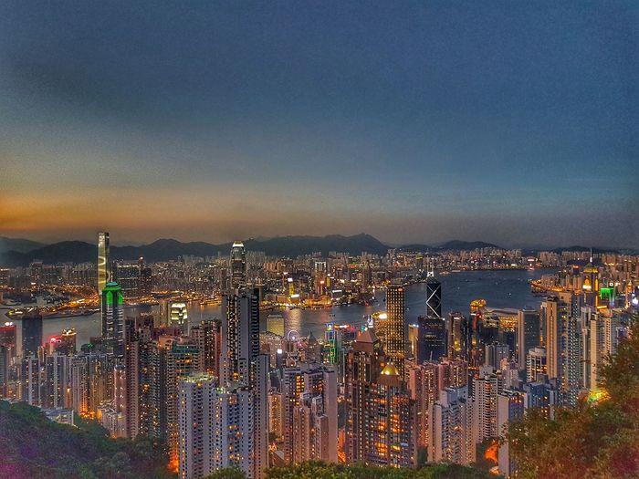 HKG Cityscape Skyscraper Illuminated Sunset Night Architecture Sky Travel Destinations Urban Skyline No People HongKong Thepeakhongkong Thepeak