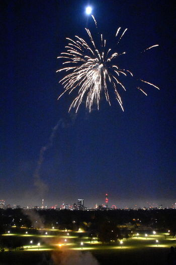City Life Cityscape London Moon Primrose Hill Primrose Hill London Arts Culture And Entertainment Blurred Motion Bonfire Night Celebration City Exploding Firework Firework - Man Made Object Firework Display Illuminated Low Angle View Motion Multi Colored New Year Eve Night Nightlife No People Outdoors Sky