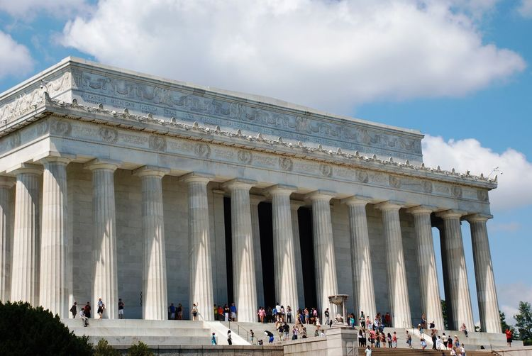 Low angle view of lincoln memorial against sky
