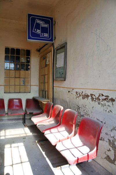 Romania Architecture Chair Day Empty No People Red Seat Trainstation Waitingroom