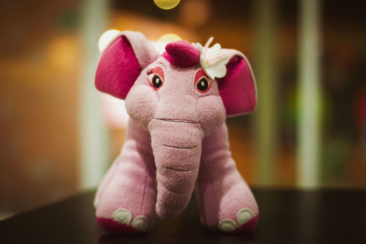 Animal Animal Themes Art And Craft Close-up Craft Creativity Elephant Elephant Toy Focus On Foreground Indoors  Mammal No People Pink Color Stuffed Toy Table Toy