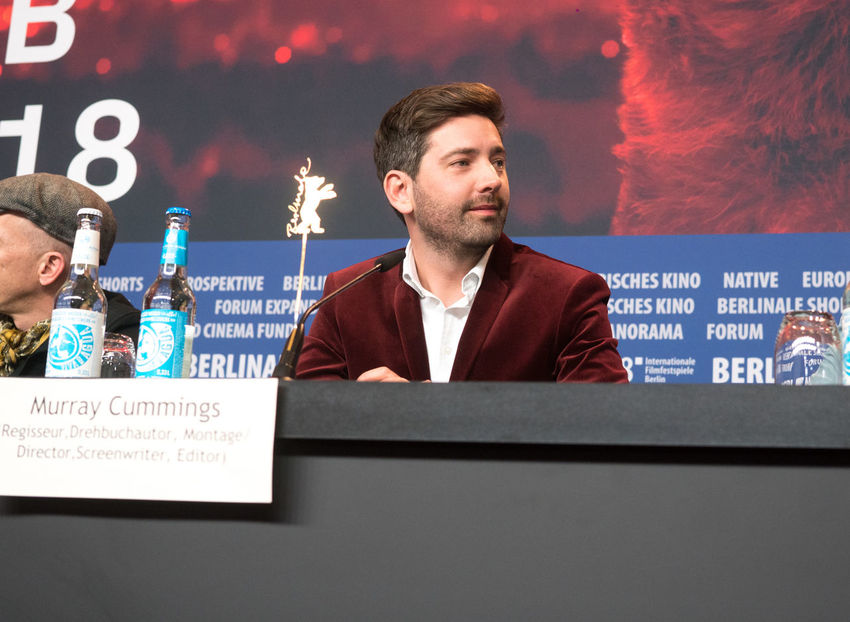Berlin, Germany - February 23, 2018: English writer and director Murray Cummings attends the 'Songwriter' press conference at 68th Berlinale International Film Festival Berlin 2018 Famous Film Festival Interview Premiere Press The Media Berlinale Berlinale 2018 Berlinale Festival Berlinale2018 Berlinale68 Director Documentary Documentary Film Festival Film Director Film Industry Front View Frontal View Indoors  Mass Media Murray Cummings People Press Conference Songwriter