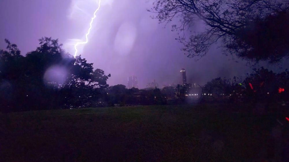 A lighting strike viewed from Five Islands Park, New Rochelle! (5/10/2018) Tree Thunderstorm Storm Cloud Purple Sky Landscape Forked Lightning Lightning Torrential Rain Storm Power In Nature