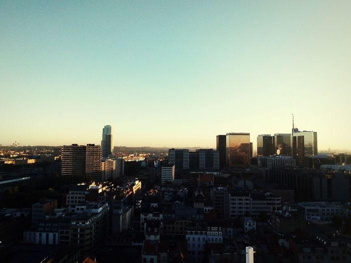 Sunrise over northern Brussels Proximus Towers Manhattan Center Brussels Atomium Brussels Up-site Belgian World Trade Center Sunrise City Cityscape Urban Skyline Illuminated Skyscraper Modern Downtown District High Angle View City Life Financial District  Skyline Office Building Tower