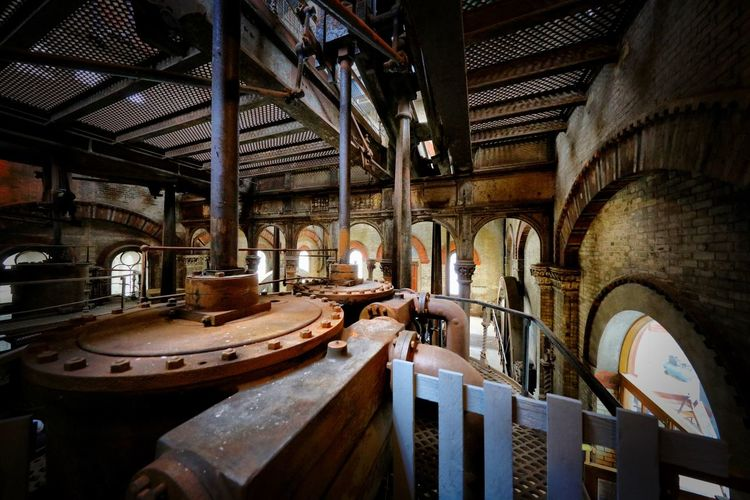 Crossness Pumping Station Indoors  Architecture No People Old Factory Wood - Material Barrel