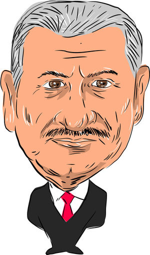 Caricature illustration of Binali Yildirim ,Turkish politician and 27th Prime Minister of Turkey facing front done in cartoon style. 27th Prime Minister Of Turkey Binali Yildirim Caricature Cartoon Front Human Face One Person Politician Turkish Watercolor White Background
