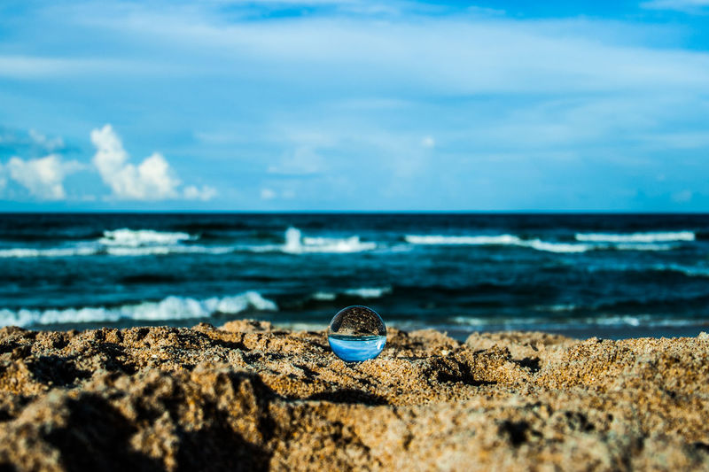 Atlantic Ocean Ball Photography Beach Life Glass Ball Photography Beach Clouds Day Horizon Inverted Image Nature No People Ocean Outdoors Sand Sand And Sea Waves