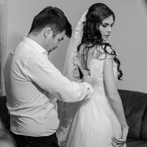 Groom and bride get ready