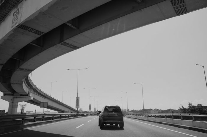 City Transportation Road Car Low Angle View Blackandwhite Black And White Photography Black And White Flyover Flyover Road City Street City Life Black & White Flyovers