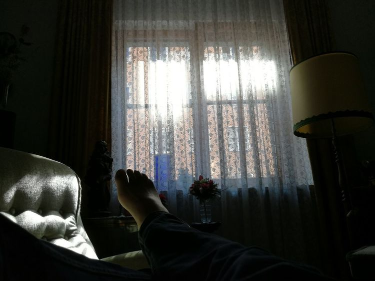 Hot Day Interior Design 20th Century Mobilephotography The Purist (no Edit, No Filter) Shadows & Lights City Life One Person Sunlight Illuminated Living Room Low Section Curtain Personal Perspective Point Of View Close-up Human Foot