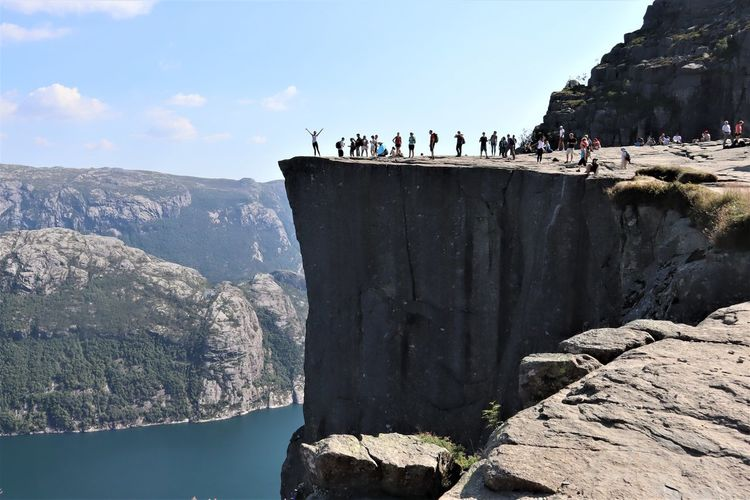 Group Of People Crowd Real People Leisure Activity Rock Nature Mountain Day Lifestyles Rock - Object Men Rock Formation Travel Destinations Trip Outdoors Large Group Of People Norway Holidays Preikestolen Fjord