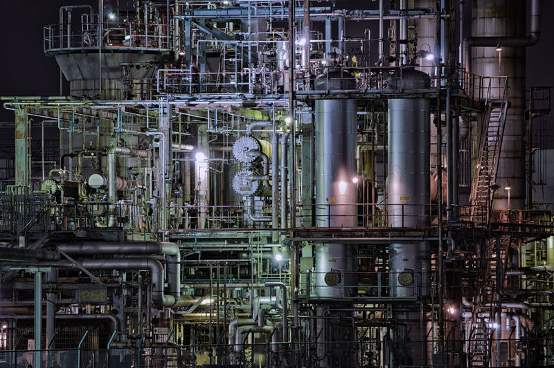 Industry Factory Fuel And Power Generation Complexity Pipe - Tube Oil Industry Technology Metal Refinery Illuminated Night Oil Refinery Full Frame Outdoors Smoke Stack Backgrounds Architecture Connection Silver Colored Distillation Steel Production Line Industrial Equipment Japan Japan Photography