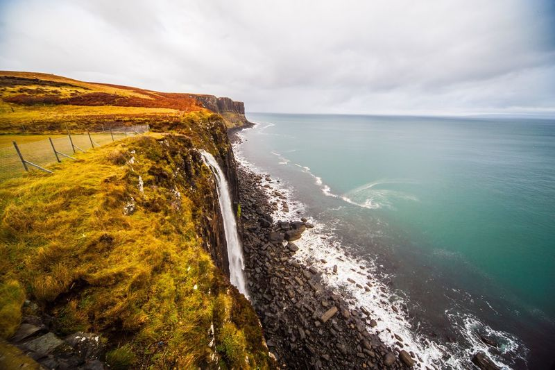 Kilt Rock, Scotland Sea Water Nature Beauty In Nature Sky Scenics Horizon Over Water Tranquil Scene Tranquility Coastline Beach No People Outdoors Motion Day Architecture Travel Destinations Eye4photography  From My Point Of View Travel Photography Landscape_photography