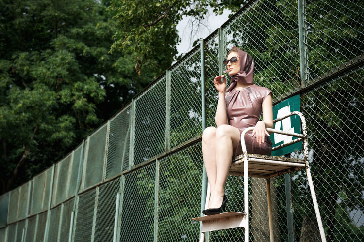 Game On Glasses Lady Latex Dress  Linas Was Here Long Legs Nature Referee Trees Classy Fence Model Pink Dress Tennis Court The Modern Professional