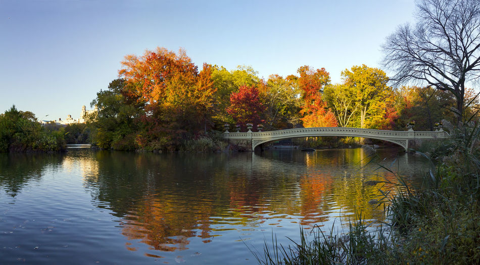 Bridge over lake against sky during autumn