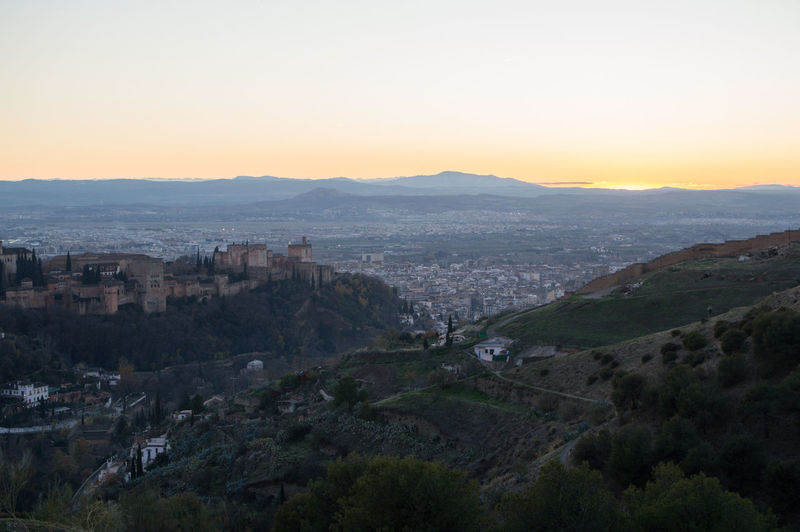 Granada, Spain SPAIN Andalusia Sacromonte Alhambra Albaycin Albaicin Building Exterior Architecture Sky Built Structure City Sunset Nature Mountain Cityscape Residential District Building Environment No People Beauty In Nature High Angle View Plant Scenics - Nature Landscape Tree Outdoors TOWNSCAPE
